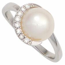 Goldring 1 Süßwasser Perle 8 Diamanten Brillanten 585 Weißgold Damen Ring 39845
