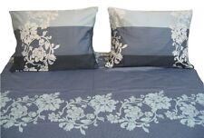 DaDa Bedding Luxe Soft Floral Navy Blue Flat Sheet Set & Pillow Sham Cases Twin