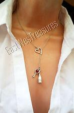 Love Open Heart Wine Bottle Glass charm pendant Necklace Lariat Style necklace