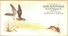Victorian Trade Card-Fulton, Bartlett, & Blain-Boston, MA-Hawk Chasing Rabbit