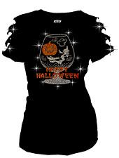 Happy Halloween Rhinestone T-Shirt Pumpkin Witch GLASS Ripped Cut Out S~4XL Shrt