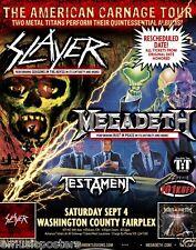 """SLAYER / MEGADETH / TESTAMENT """"AMERICAN CARNAGE TOUR"""" 2010 OREGON CONCERT POSTER"""