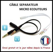 CABLE AUDIO SEPARATEUR MICRO PC CASQUE JACK 3,5mm ADAPTATEUR FEMELLE MALE SON