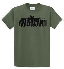 AMERICAN INFIDEL T SHIRT AR15 RIFLE GUN MILITARY USA ARMY MARINES OLIVE TAN