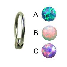Titan Synth. Opal Piercing Flatback Klemmkugel 4mm Lippen Brust Intim Piercing