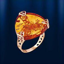 Russische Rose Rotgold 585 Ring mit baltischem Bernstein dreieckig Neu Glänzend