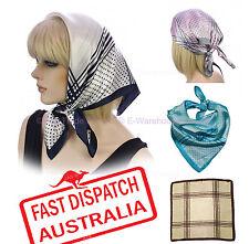 Soft Silky Silk Square Scarf Chemo Head Cover Wrap Stripes CHECK Polka Dot Print