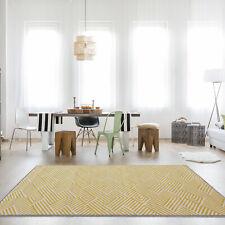 Designer Ochre Patchwork Thatch Mustard Yellow Rug Geometric Trendy Modern Rugs
