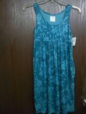 SUNDRESS W FLOWERS BLUE COTTON BLEND DRESS 2 SIDE POCKETS REGULAR NWT