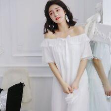 Femme Nightgown Lacets Robe de Nuit une Épaule Français Princesse Pyjama Royal