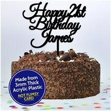 21st Twenty One Personalised Happy Birthday Cake Topper ANY NAME AGE Decoration