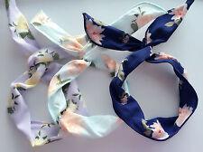 1PC Women Lady Retro flower Wire Bunny Ear bow scarf Hair head band headband Tie
