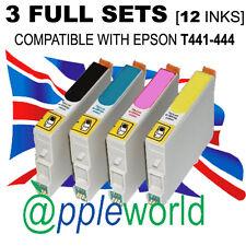 3 Set Completo De Cartuchos (12 Tintas) compatible con t441-444 [ No Epson Original ]