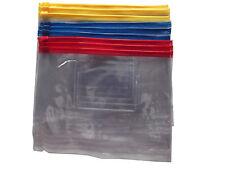 Pack of 3 A5 Size Zip Seal Document Wallets Storage Waterproof Bag Clear School