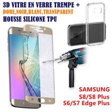 3D Vitre Film Verre Trempé Full Samsung Galaxy S8 S6/S7/Edge + 1 Coque Silicone