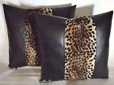 """2 Nero in Finta Pelle VELBOA Pelliccia Leopard Stripe Cuscino Copre 16"""" 18"""" 20"""""""