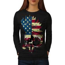 USA Flag Metal Punk Skull Women Long Sleeve T-shirt NEW | Wellcoda