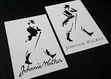 Conjunto de 2 un. Johnnie Walker viejos y nuevos estilos Whisky aerógrafo de plantilla de etiqueta de logotipo
