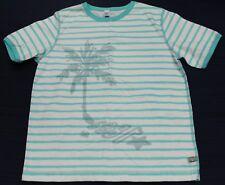 PETIT BATEAU Boy's Teal Striped Palm Tree T-Shirt Sz 8 Years (126cm) NEW $40