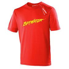 Con Licenza Baywatch ® Rosso Cooltex t-shirt-Sports Bagnino Costume Da Uomo Top