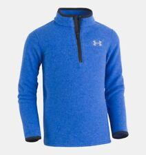 NWT Under Armour UA BOYS' Solid Logo ¼ Zip Fleece Pullover Top Royal Navy Gray