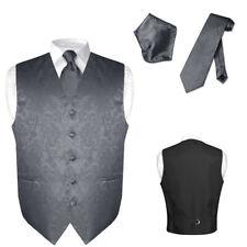 Men's Paisley Design Dress Vest & NeckTie CHARCOAL GREY Color Neck Tie Set