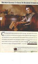 """PUBLICITE ADVERTISING  1988   GRANGE meubles """"signe de richesse interieure"""