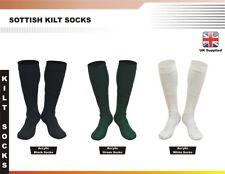 Men New Scottish Irish Highland Long Kilt Hose Socks Green White Black All sizes