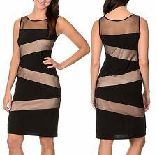 R&M Richards Black w/Tan Mesh Asymmetric Illusion Stretch Sheath Dress Black 6R