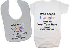 Google Personalised Baby Grow/Bodysuit/Romper/T-Shirt & Feeding Bib 0-24m Gift