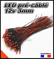 258C# LED 3mm 12v pré-câblé rouge diffusante 5 à 100pcs - pre wired LED red