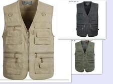Mens Vest Leisure Cargo Zip Camera Fishing Outdoor Waistcoat Multi Pockets