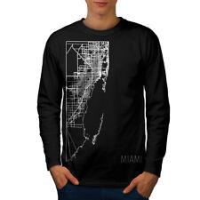 Miami City Map Fashion Hommes T-shirt à manches longues Nouveau   wellcoda