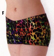 NWOT Axis Booty Shorts Dance Gymnastics Multi Color FOIL Print ch/ladies 94200