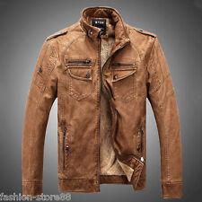 Men's leather and suede leather jacket collar vintage old short jacket