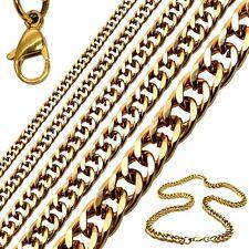 1Collar cadena o pulsera de acero inoxidable sólido en negro en color oro 4-12mm