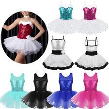 Kids Girls Gymnastics Ballet Tutu Dress Leotard Bodysuit Dance Ballerina Costume