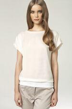Hauts top femme ecru t-shirt manches courtes NIFE B40