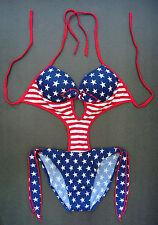 USA Stars & Stripes SWIMMING COSTUME Padded Bra Cups Swimsuit Swimwear Beachwear