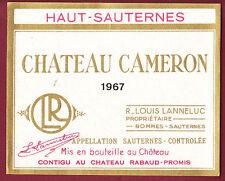 ETIQUETTE VIN - Chateau CAMERON 1967 - Bommes Sauternes