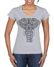 Tribal Indian Elephant Tattoo Large Print V Neck Women's T-Shirt - Elephants