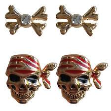 Set of 2 Pairs of PIRATE Skull Stud Earrings Twinkle Trove GIFT BOX Fancy Dress