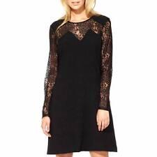 Ossie Clark Women's Vintage Inspired Black Lace Detail Keston Dress RRP £129