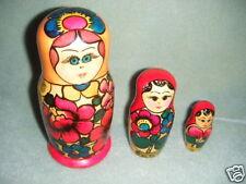 """6"""" lg narrow Russian Matryoshka Nesting Dolls 3 pc"""