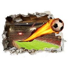 Football on fire wall smash 3D wall sticker childrens bedroom vinyl art lounge