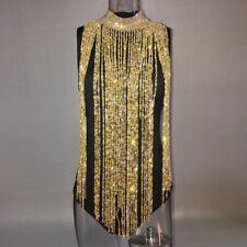 Woman Bling Sequin Metal Crystal Tassel Fringe Dress Long Necklace Body Jewelry