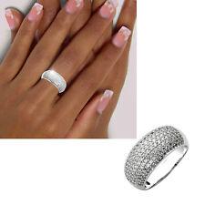Breiter Damen Ring 925 echt Silber viele Zirkoniasteine große Größen 50-64 neu