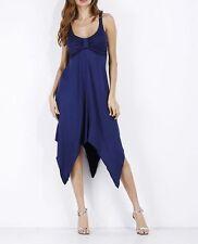 Elegante raffinato vestito abito donna asimmetrico blu scollato morbido 3694 c8b27cb2b957