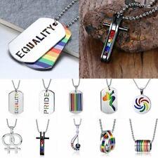 Punk Gay LGBT Rainbow Friendship Ring Women Men Pendant Necklace Chain Jewelry