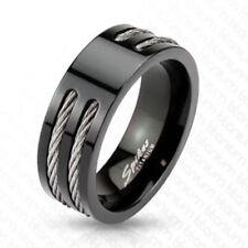 """Herren Damen Ring Titan schwarz """"Stahl Wire"""" 6. Gr NEU -- SCHMUCK von ALLFORYOU"""